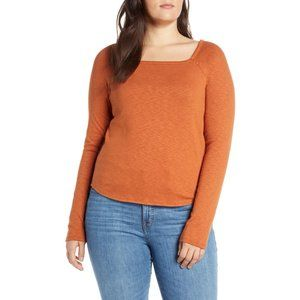 NWT Madewell Burnt Clay Square-Neck Tee
